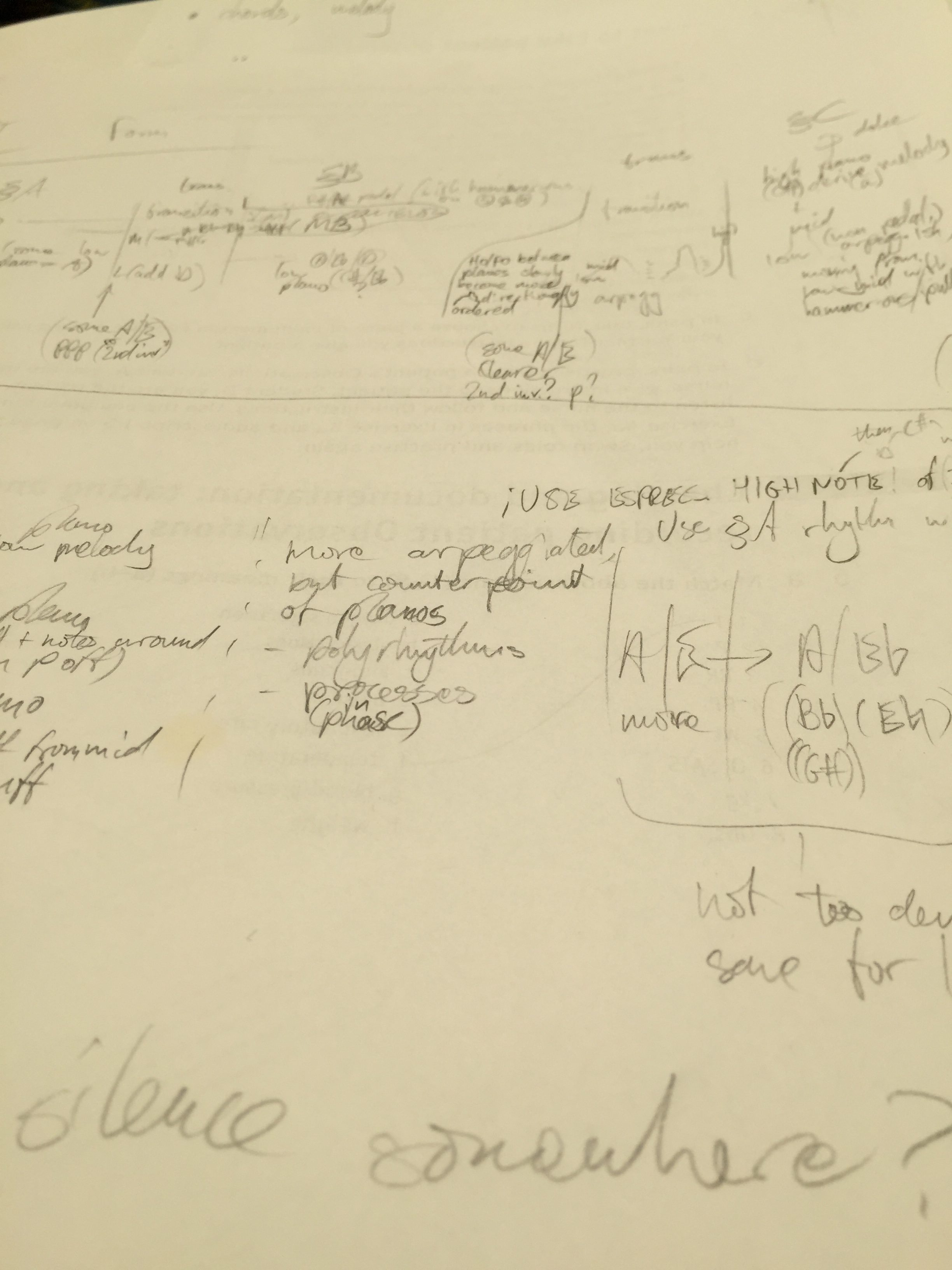 Handwritten plans for Solo Guitar Piece Movement II