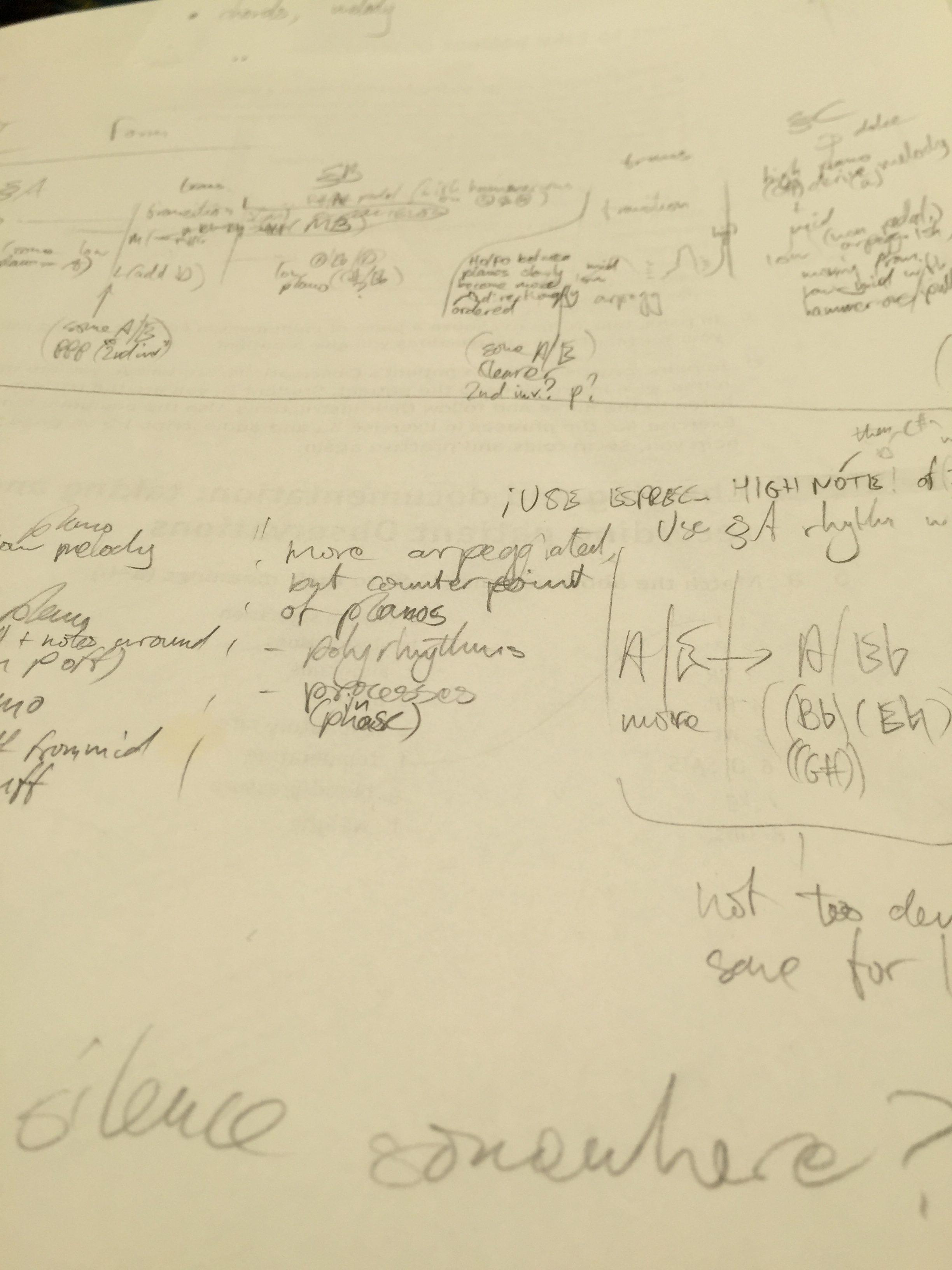 Handwritten plans for Solo Guitar Piece Movement II